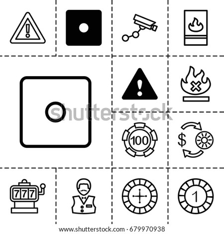 risk icon set of 13 filled and