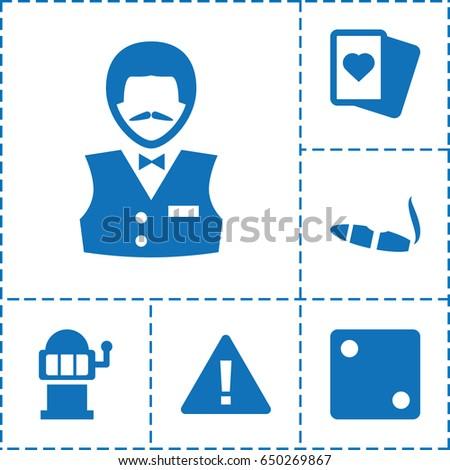 risk icon set of 6 risk filled