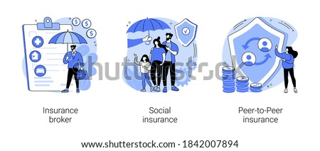 Risk insurance abstract concept vector illustration set. Insurance broker, social and peer-to-peer paid benefit, emergency risk, unemployment and income loss, pension trust fund abstract metaphor.