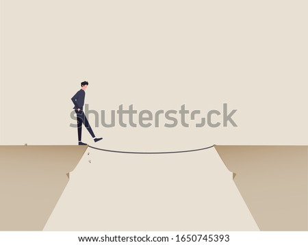 Risk management, challenge for business success or bravery for decision making to solve problem concept. Confident businessman in suit start walking from cliff to rope to reach destination.