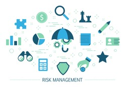 Risk management concept. Idea of business strategy and financial protection. Money safety. Set of colorful icons. Isolated flat vector illustration