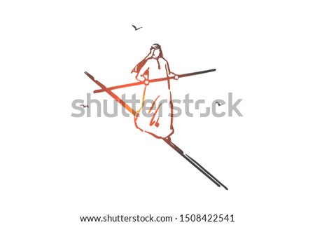 Risk management, equilibrium concept sketch. Hand drawn isolated vector