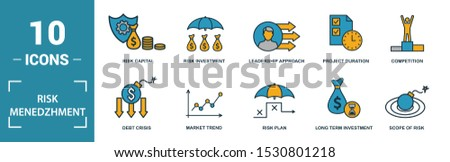 Risk Management icon set. Include creative elements risk management, risk capital, risk plan, project manager, project timeline icons. Can be used for report, presentation, diagram, web design.