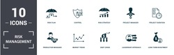 Risk Management icons set collection. Includes simple elements such as Risk Level, Risk Plan, Control, Risk Strategy, Project Manager, Production Manager and Market Trend premium icons.