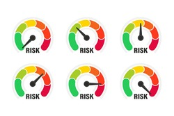 Risk meter. Risk concept on speedometer, vector illustration. Scale low, medium or high risk on speedometer. Set of gauges from low to high. Minimum to Maximum. Min Max. Customer satisfaction meter
