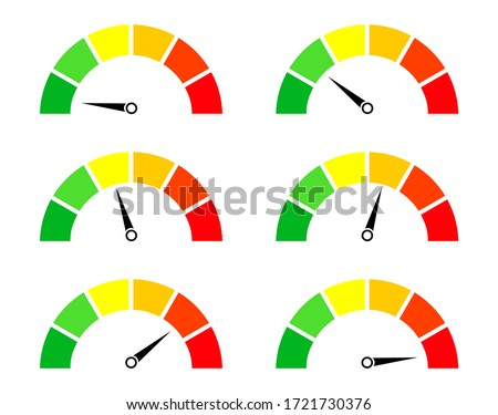 Risk meters. Gauge and icon of speedometer. Score of performance, speed, power, pressure and progress. Dial with low, medium and high level. Test on dashboard in car. Good or bad rating. Vector. Stock photo ©