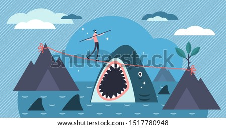 Risk vector illustration. Flat tiny danger situation symbol persons concept. Extreme leisure or financial situation visualization. Business dangers and challenges management. Abstract gambling play.