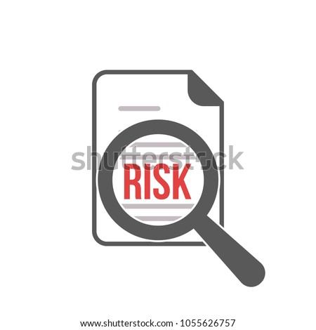 Risk Word Magnifying Glass. Risk Managment icon. Risk, icon, assessment, reduce, vector, business, data, organization, symbol, analysis, chart