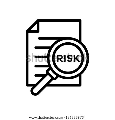 Risk Word Magnifying Glass vector icon in line art style on white background, Risk Managment icon, Vector illustration