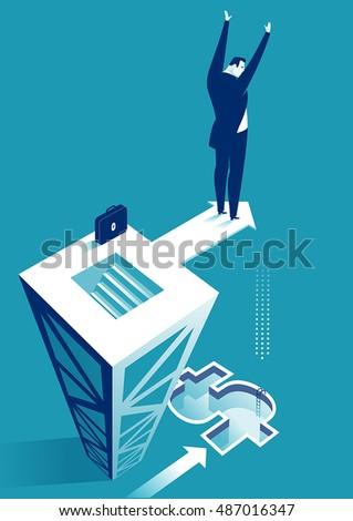 Risky Business. Businessman trying to jump to the swimming pool. Concept business vector illustration