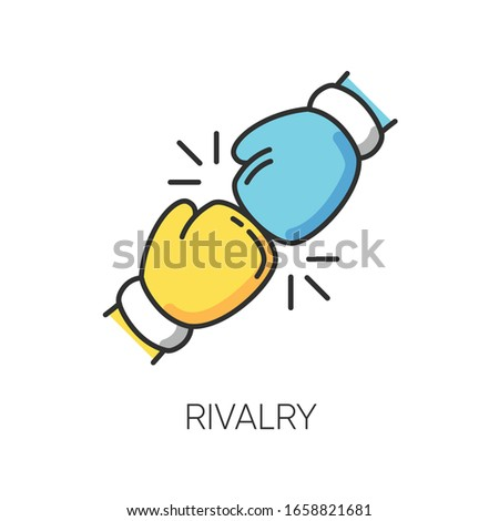 Rivalry RGB color icon. Friendly contest, competitive interpersonal relationship symbol. Rivals confrontation, conflict, opponents clash. Boxing gloves isolated vector illustration Foto stock ©