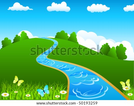 River and green landscape - vector illustration