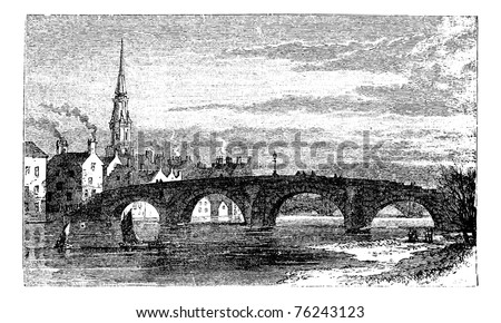 River Ayr Bridges. Old Bridge or Auld Brig over Ayr River, in Scotland, during the 1890s, vintage engraving. Old engraved illustration of the Old Bridge over the Ayr River.