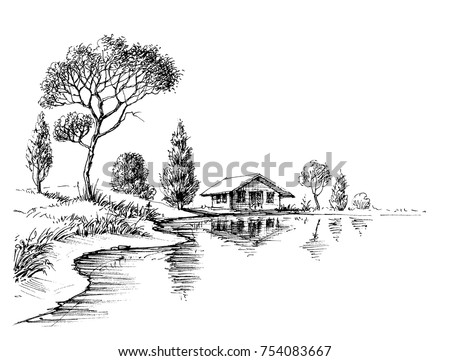 River bank panorama. Nature artistic sketch, relaxation and meditation background