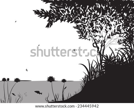 river bank with grass and tree