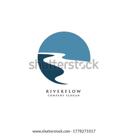 river creek winding road logo design illustration