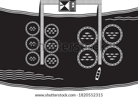 River fish farm from above - vector illustration stock photo