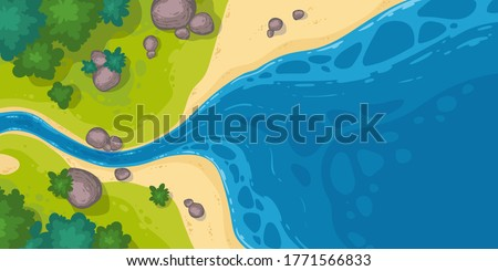 River flow into sea or pond top view, cartoon narrow riverbed going to wide water with rocks, grass and bushes on coastline. Summer landscape, beautiful valley, scenic stream, vector illustration Stock photo ©