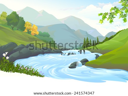 river flowing down stream