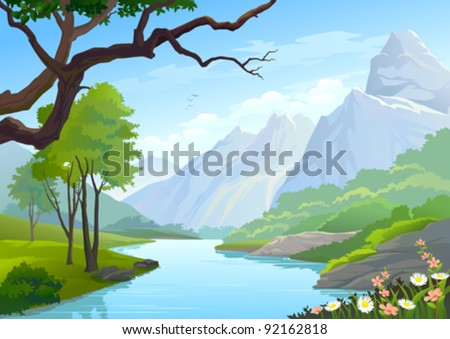 RIVER FLOWING THROUGH HILLS AND MOUNTAIN - stock vector