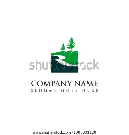 river logo simple green creek