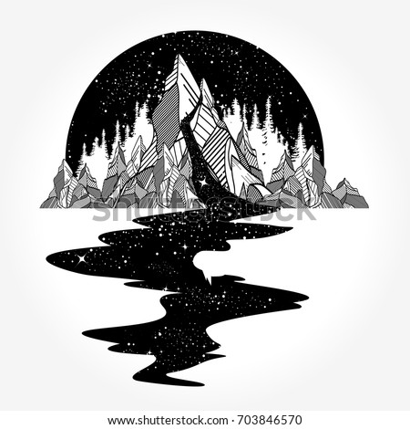 River of stars flows from the mountains, tattoo art. Infinite space, meditation symbols, travel, tourism. Endless universe concept