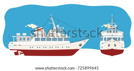 River passenger ship in two angles for advertising, printed products and websites