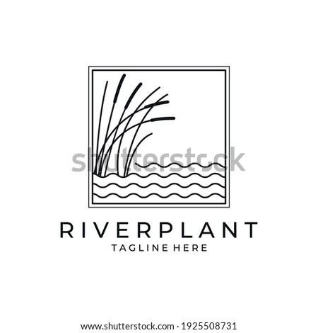 river plant cattail icon logo vector symbol illustration design, nature plant in square logo design Stockfoto ©