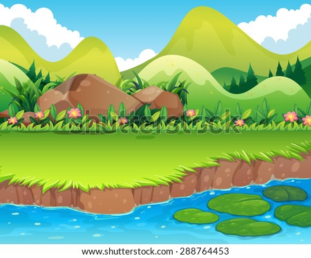 river scene with lawn and