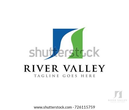 river sun logo icon vector...