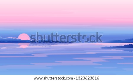 river sunset landscape with