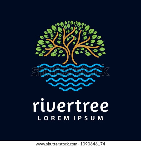 River Tree Logo circle shape design vector template
