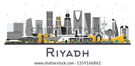 Riyadh Saudi Arabia City Skyline with Color Buildings Isolated on White. Vector Illustration. Business Travel and Concept with Modern Architecture. Riyadh Cityscape with Landmarks.