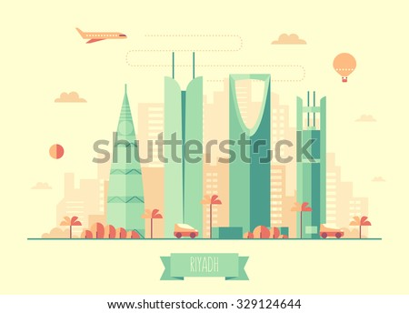 Riyadh skyline architecture, vector illustration with plane, cars and air balloon, flat design