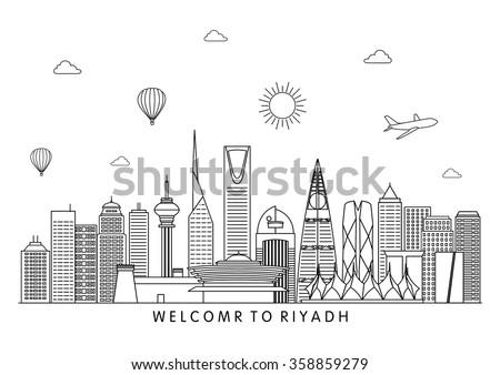 Riyadh skyline. Vector line illustration. Line style design
