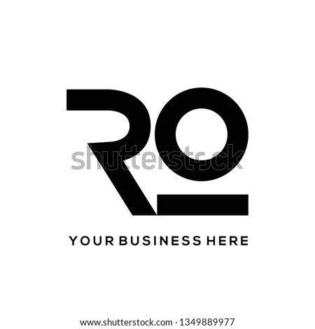 RO monogram.Bold, clean, minimalist lettering logo.Typographic icon with letter r and letter o.Uppercase initials isolated on white background.Customized font. Foto stock ©