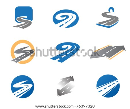 Road. Abstract element set of logo templates