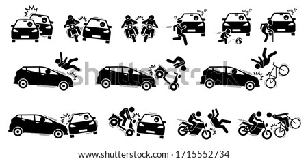 Road accident and car crash icons. Vector artwork of road vehicle accident between car, motorcycle, bicycle, people, pedestrian, jogger, child, and elderly.