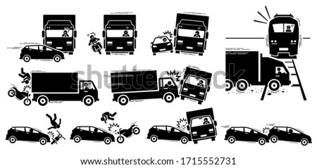 Road accident and vehicle crash collision icons. Vector cliparts of road accident between car, motorcycle, lorry, and train.