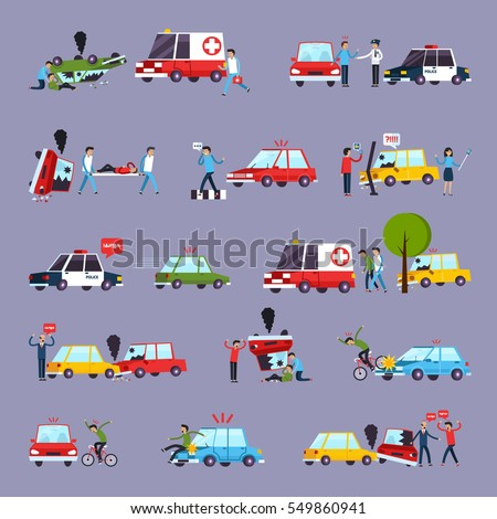 road accident icons set with