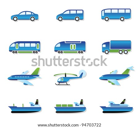 Road, air, rail and water transport - vector illustration
