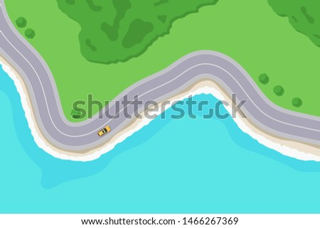 Road along the beach, top View. Travel by car along the sea coast. Highway in a coastline landscape. Vector illustration