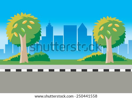 Road and city landscape in summer