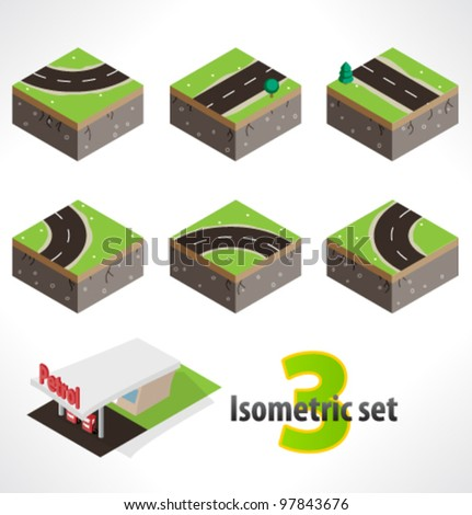 Road and Gas station. Set #3 of Part of the map. Isometric.