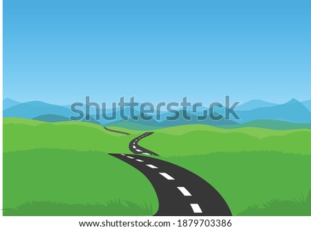 road and green landscape with