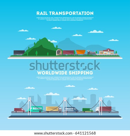 Road and railway commercial transportation banner set. Logistics and cargo delivery business concept. Worldwide freight shipping company, global postal service vector illustration in flat design.