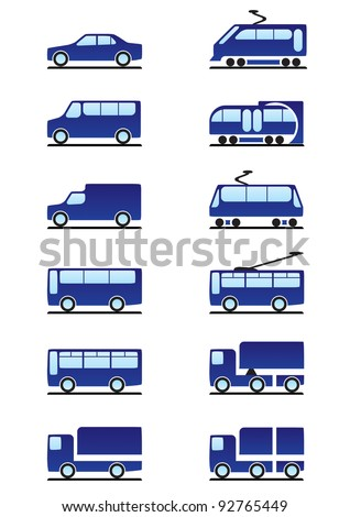 Road and railways transportation icons set - vector illustration