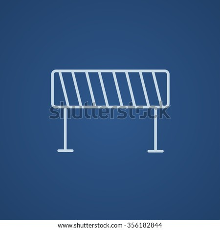 Road barrier line icon for web, mobile and infographics. Vector light blue icon isolated on blue background.