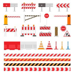 Road barrier vector street traffic-barrier warning and barricade blocks on highway illustration set of roadblock detour and blocked roadwork barrier isolated on white background