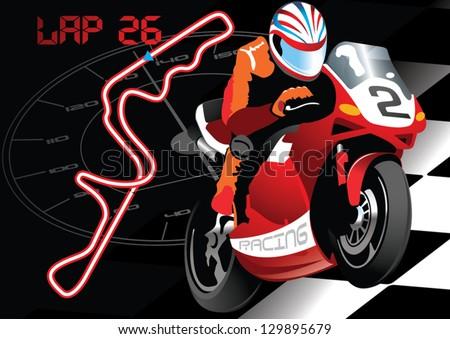 Racing Road Vector Road Bike Racing